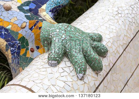 Details of Gaudi multicolored mosaic salamander in Park Guell Barcelona Spain