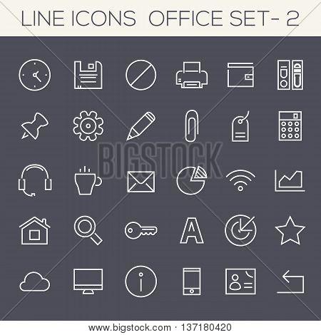 Thin line office icons on dark, set 2