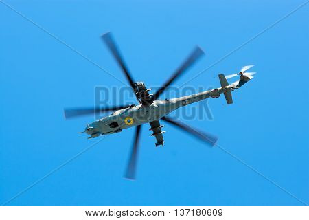 Helicopter Armed Forces Of Ukraine Flew Over The Area