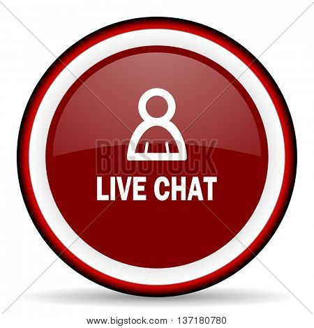 live chat round glossy icon, modern design web element
