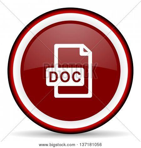 doc file round glossy icon, modern design web element