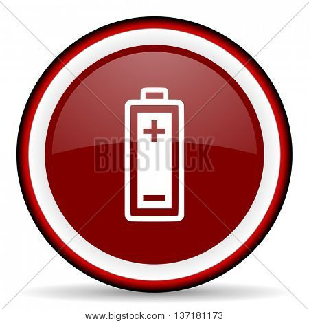 battery round glossy icon, modern design web element