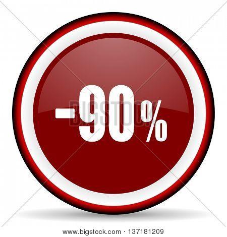 90 percent sale retail round glossy icon, modern design web element