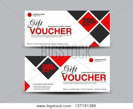 Red Discount Voucher template flyer design polygon background Gift Voucher layout ticket card vector illustration