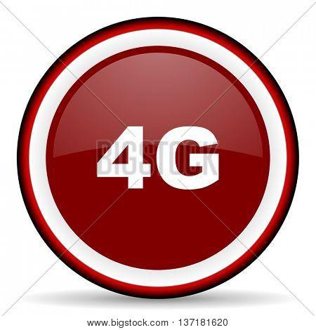 4g round glossy icon, modern design web element