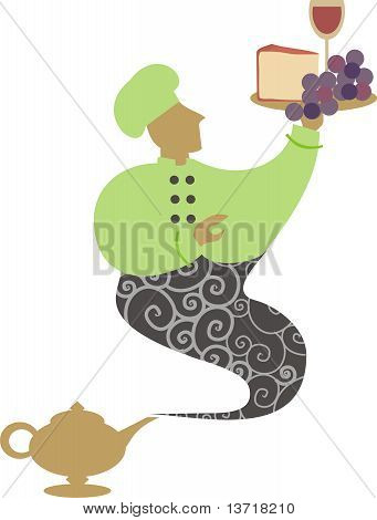Magic lamp genie chef cheese grapes wine