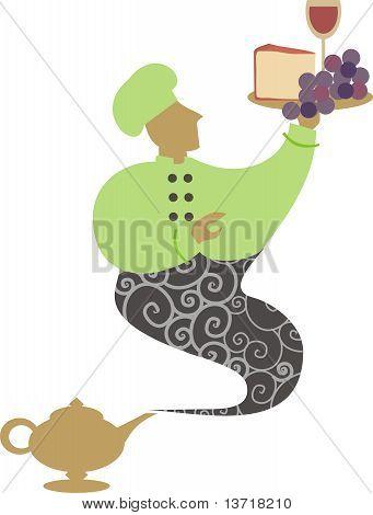 Magic lamp genie chef cheese grapes wine
