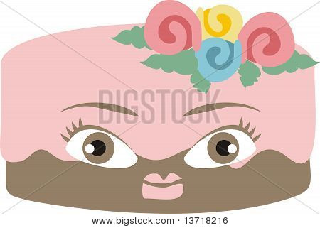 Pink frosted chocolate girl face cake