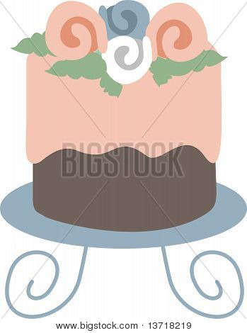 Pink frosting flowers chocolate cake stand