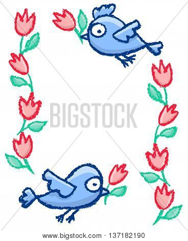 Cute little hand drawn blue birds and flowers frame. Cartoon vector border isolated over white.