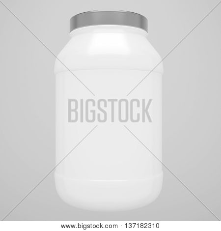 Sport Nutrition Protein White Bottle with Grey Cap isolated