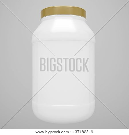 Sport Nutrition Protein White Bottle with Gold Cap isolated