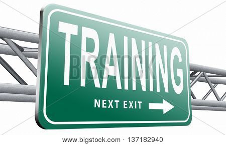 training learning for knowledge and wisdom or physical fitness sport practice work out or education with text and word concept , 3D illustration on white background