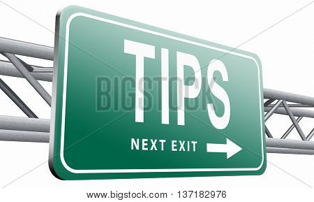 tips helpful tip and trick hot idea clue and user tricks, 3D illustration, on white, background
