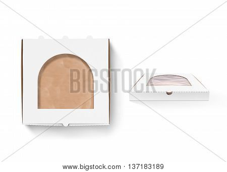 Pizza box design mock up with foil window isolated. Carton packaging box clear mockup. Delivery food plastic container template. Branding identity pizzeria restaurant design presentation element.