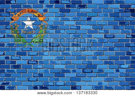 Flag of Nevada on a brick wall - Illustration,  The flag of the state of Nevada on brick textured background,  The Nevadan state flag in brick style
