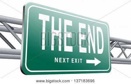 the end road sign to finish point way out, 3D illustration, isolated on white background