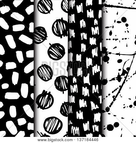 Vector seamless modern ink pattern set. Messy ink dry brush background with trendy shapes brush stokes spots and geometry shapes. Black and white artistic print. Great for wrapping paper