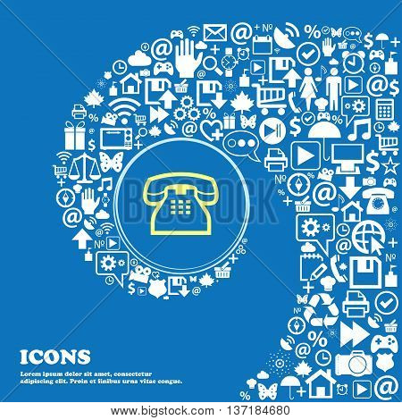 Retro Telephone Handset Sign Symbol. Nice Set Of Beautiful Icons Twisted Spiral Into The Center Of O