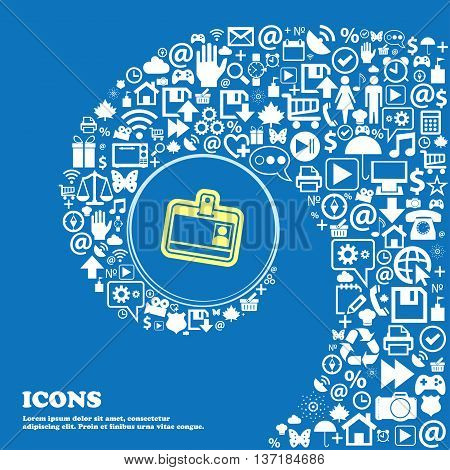 Id Card Sign Symbol. Nice Set Of Beautiful Icons Twisted Spiral Into The Center Of One Large Icon. V