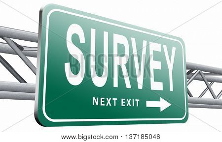 Survey feedback sign online checklist and satisfaction questionnaire, 3D illustration, isolated on white background