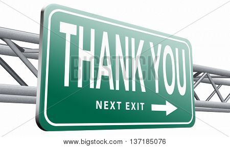 thank you vary much many thanks sign showing gratitude, 3D illustration, isolated on white background