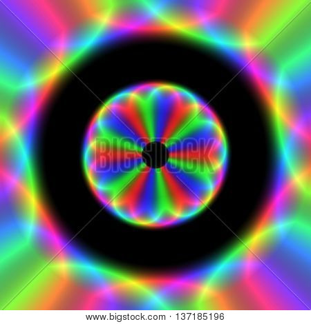 Colorful blurred vibrant digitally generated flower surrounded by the blurry fluorescent rgb rays