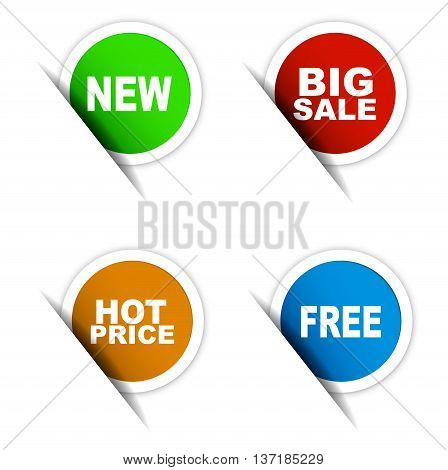 This is set of vector paper elements / green sticker new / red sticker big sale / orange sticker hot price / blue sticker free