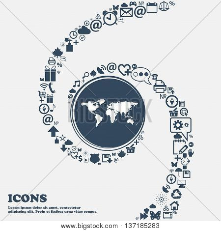 Globe Sign Icon. World Map Geography Symbol In The Center. Around The Many Beautiful Symbols Twisted