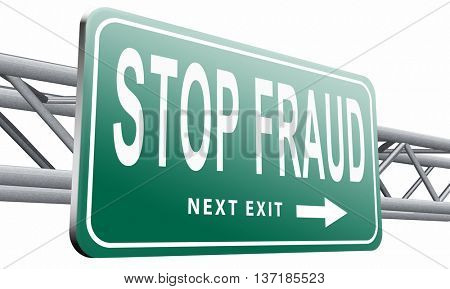 stop fraud bribe and political or police corruption money corrupt cyber or internet crime, 3D illustration, isolated on white background