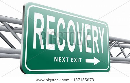 Recovery recover lost data economy recovering, 3D illustration, isolated on white background