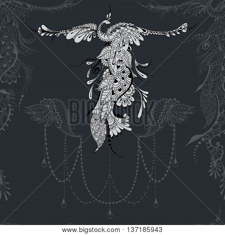Illustration of flying Phoenix Bird. Bird with outstretched wings on dark grey background with lace decor.