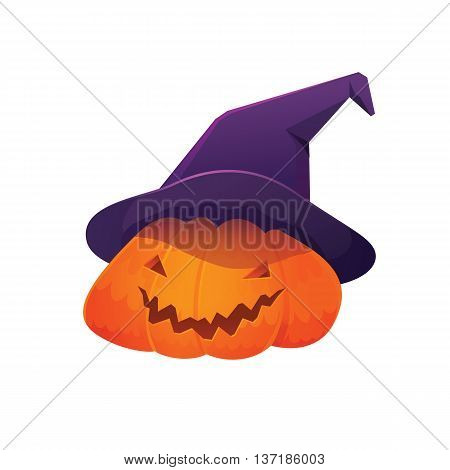 Vector Illustration of Jack 'O Lantern Pumpkin wearing Witch Hat for Halloween, Isolated on White Background