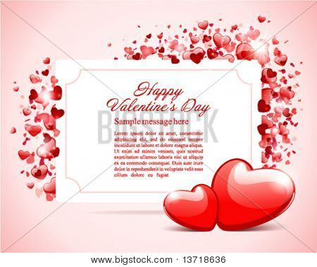 Valentine's day card with two hearts vector background