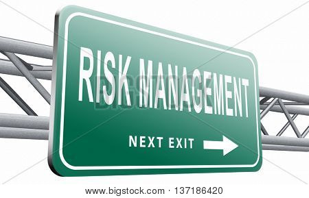 Risk management insurance and safety to assess avoid risks, 3D illustration, isolated on white background