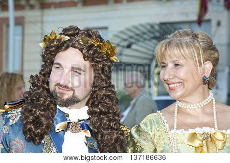 Naples Italy July 02 2016: participants of the parade of carriages with actors in costumes to commemorate the three hundredth anniversary of the birth of Charles of Spain who was King of Naples