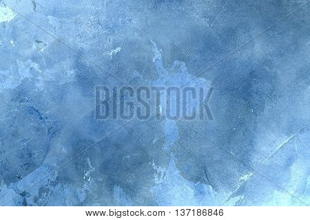 Texturized blue putty. Vintage or grungy background of venetian stucco texture as pattern wall.