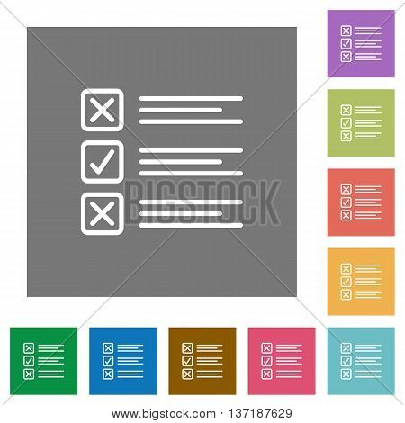 Questionnaire flat icon set on color square background.