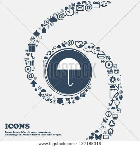 Umbrella Sign Icon. Rain Protection Symbol In The Center. Around The Many Beautiful Symbols Twisted