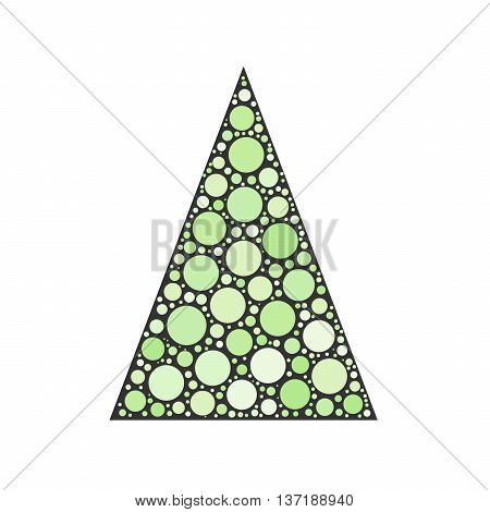 Simple abstract chrismas tree of green dots, or circles, in a grey triangle shape.