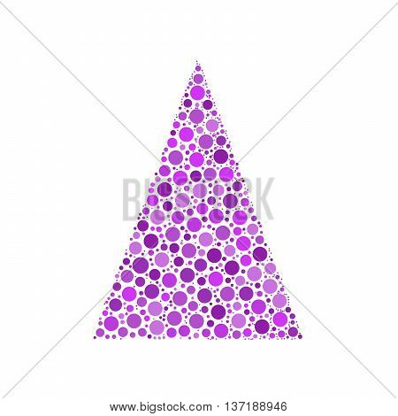 Simple abstract chrismas tree of dots, or circles, in a triangle shape. Violet illustration on white background.