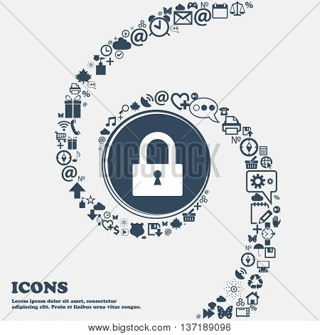 Lock Sign Icon. Locker Symbol In The Center. Around The Many Beautiful Symbols Twisted In A Spiral.