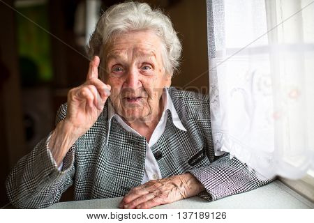 Portrait of an elderly woman gesticulating when talking.