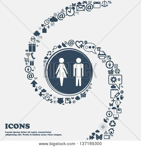 WC sign icon. Toilet symbol. Male and Female toilet in the center. Around the many beautiful symbols twisted in a spiral. You can use each separately for your design. Vector illustration