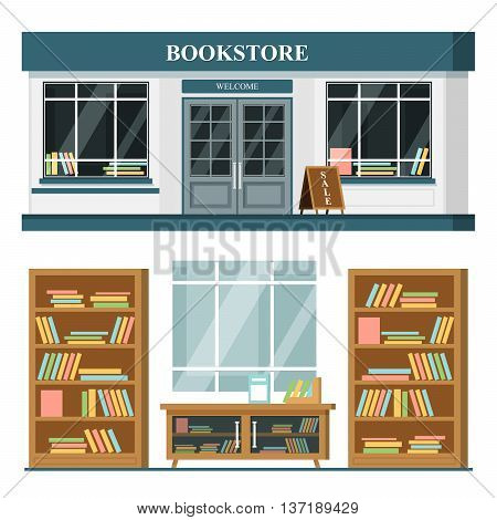 Set of vector detailed flat design bookstore facade and interior. shop with books, shelves, places for reading. Flat illustration.