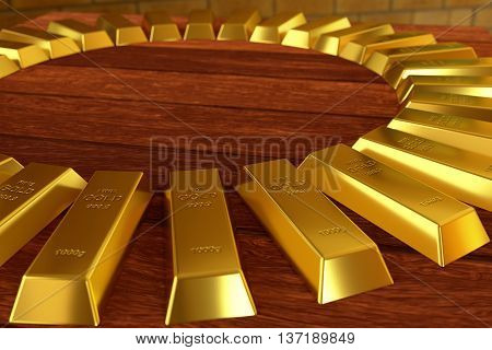 rendered gold bars in circle shape on the planks, 3d rendering