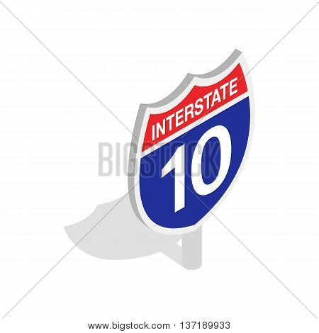 Interstate highway sign icon in isometric 3d style isolated on white background