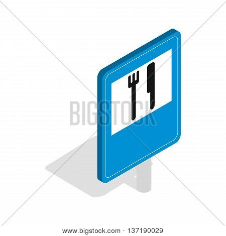 Restaurant road sign icon in isometric 3d style isolated on white background