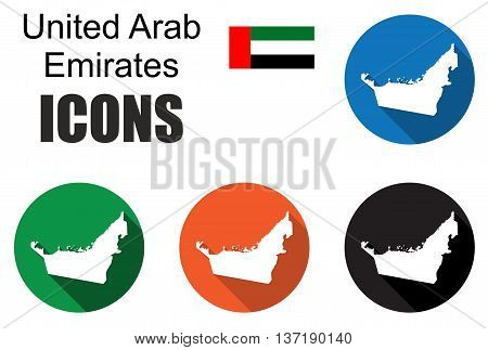 This is set colorful map flat icons state united arab emirates