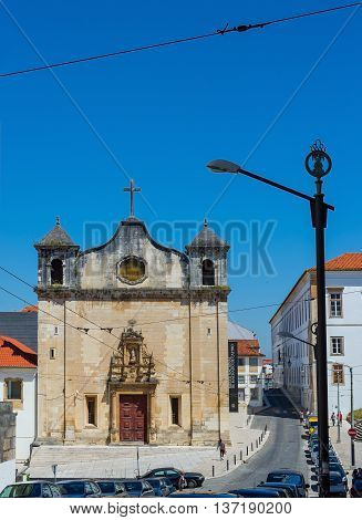 Coimbra Portugal - June 21 2016. Facade of Igreja de Sao Joao de Almedina church and Museu Nacional de Machado Castro in Coimbra. Portugal.